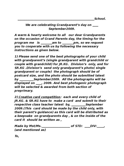 Grandparents Day Celebration Schedule | Grandparent | Leisure