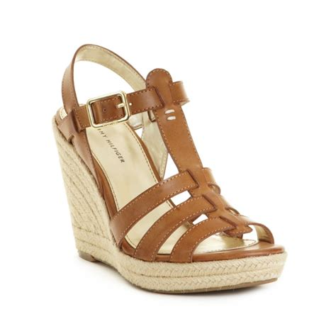 Hilfiger Wedges by Hilfiger Espadrille Wedges In Brown Luggage