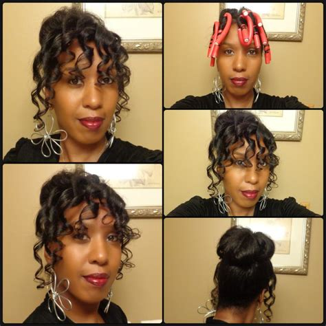 curling puddingusing rods high bun and spiral curls using flexi rods natural hair