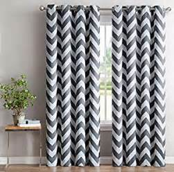 Chevron Print Curtains Hlc Me Chevron Print Thermal Insulated Blackout Window Curtain Panels Pair Chrome