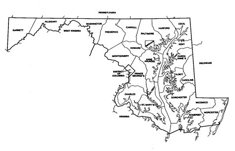 maryland map with capital maryland