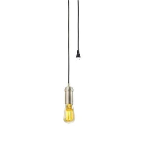 Electric Light Fixture Parts Globe Electric 1 Light Antique Brass Vintage In Hanging Socket Pendant With Black Rope