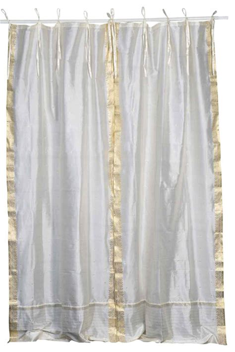 Sheer Cafe Curtains Tie Top Sheer Sari Cafe Curtain Drape Panel 43w X 36l Pair Asian Curtains By
