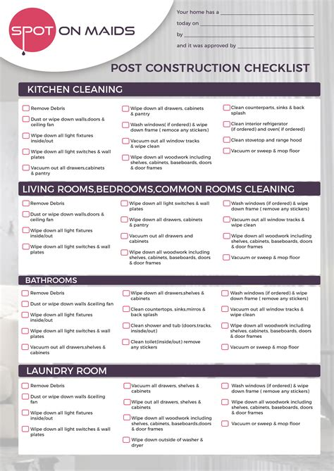 cleaning checklist cleaning checklist