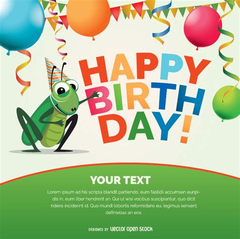 cricket birthday card template happy birthday cricket bug card vector