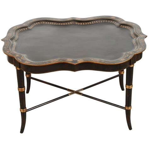 hand painted black tray coffee table by maitland smith for