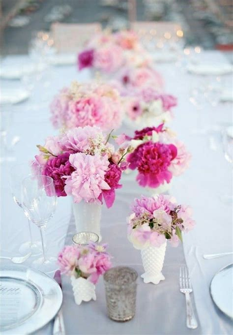 fuchsia and light pink flowers white milk glass vases