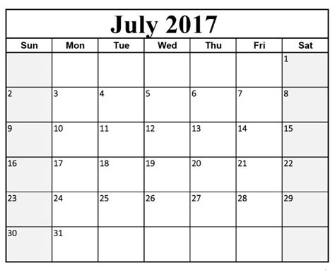 fillable calendar template july 2017 calendar fillable calendar template letter