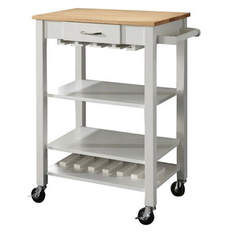 Kitchen Cart With Butcher Block Top White coaster kitchen cart with butcher block top in white and