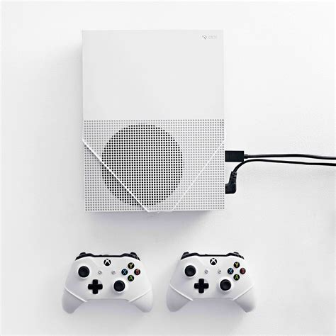 Tshirt Xbox One White xbox one s and controller bundle wall mounts by floating grip 174