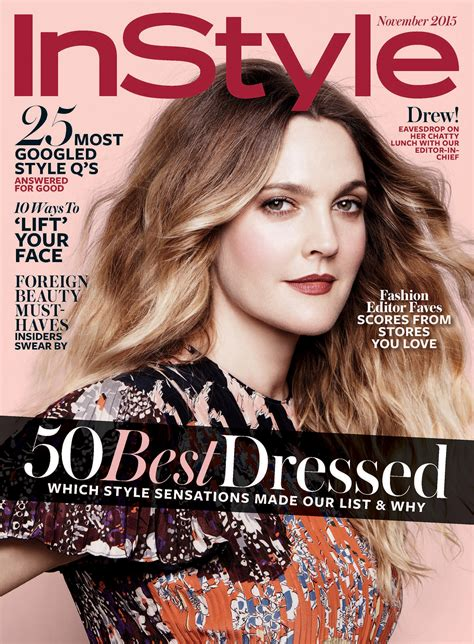 On Cover Of In Style by Drew Barrymore In Instyle Magazine November 2015