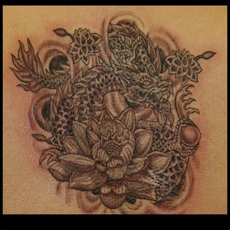 tattoo lotus dragon mystic art tattoo tom milhoan