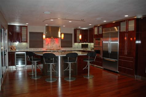 modern kitchen in los gatos high gloss finish cherry