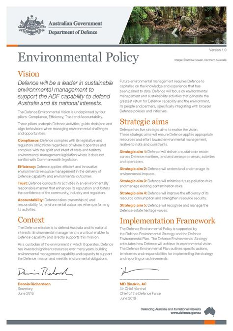 environmental policy template home environmental management department of defence