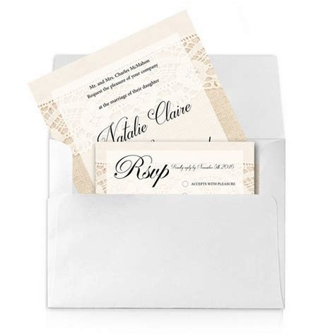 5x7 Wedding Invitations by Lace And Burlap 5x7 Wedding Invitation And Rsvp Card