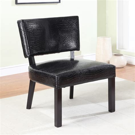 Faux Leather Accent Chair Dreamfurniture Crocodile Print Faux Leather Accent Chair