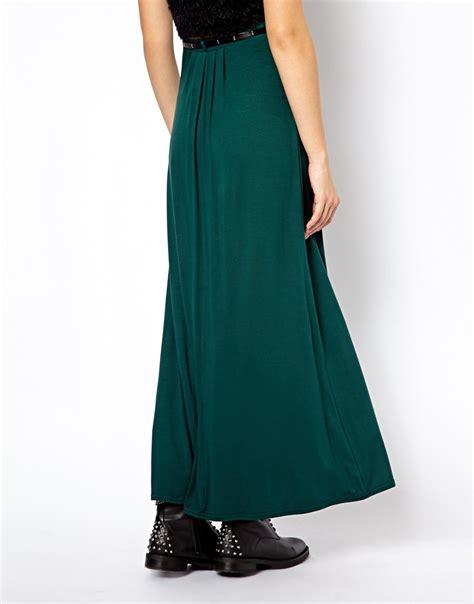 Maxi Belt Jersey lyst asos new look jersey maxi skirt with belt in green