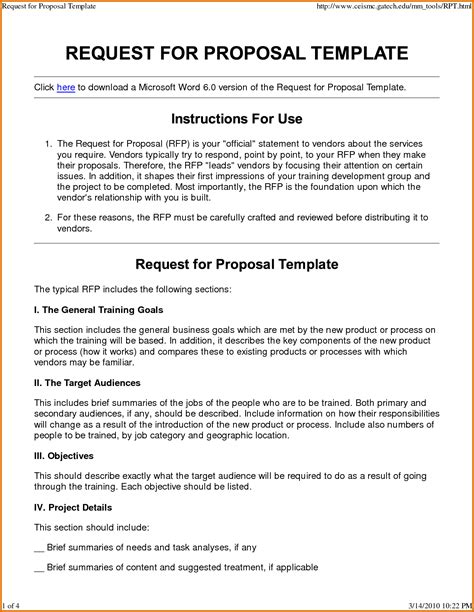 request for proposal template wordreference letters words