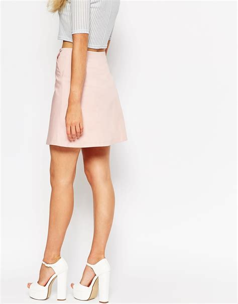 asos a line skirt with zip through detail in pink lyst