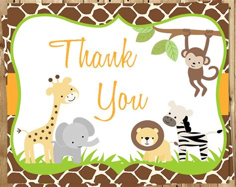 printable animal thank you cards jungle baby shower thank you cards safari gender neutral
