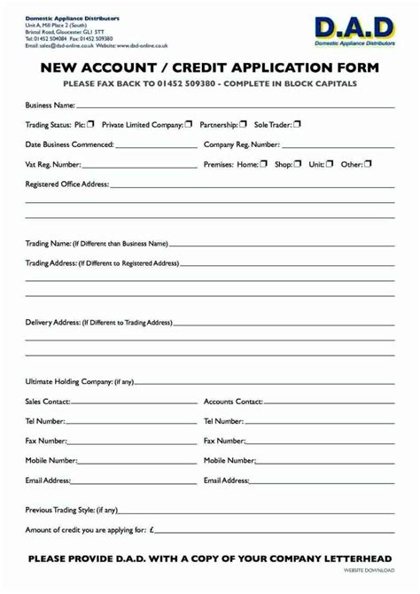 account application form template word besttemplates123