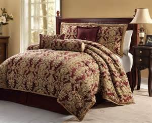clearance 7pc bed in a bag bristol burgundy comforter clearance luxury 7pc bedding set lacy burgundy gold