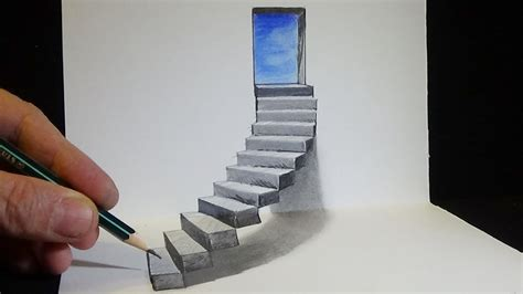3d Drawing Of Stairs drawing stairs to the door how to draw 3d steps vamos