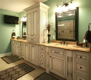 using kitchen cabinets in bathroom what color of paint and glaze are you using in this beautiful bathroom