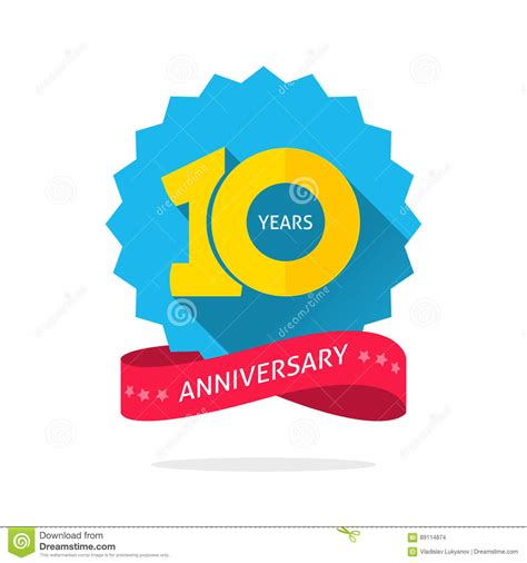 10 Year Anniversary Color by 10 Years Anniversary Logo Template With Shadow On Blue