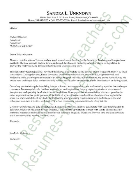 cover letter exles for substitute teachers substitute cover letter sle and