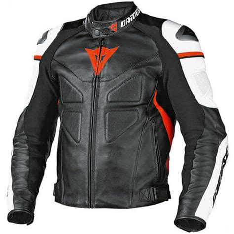 dainese avro  black white red deri motosiklet montu