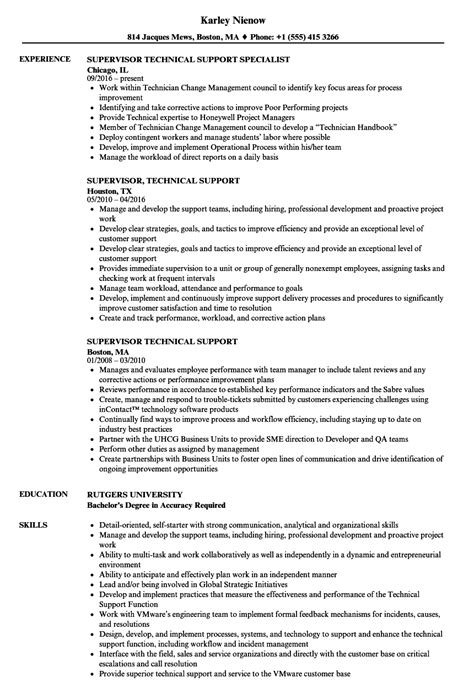 Telephone Center Supervisor Resume by Supervisor Technical Support Resume Sles Velvet