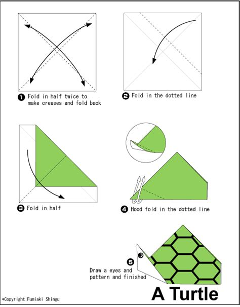 Easy Turtle Origami - turtle easy origami for