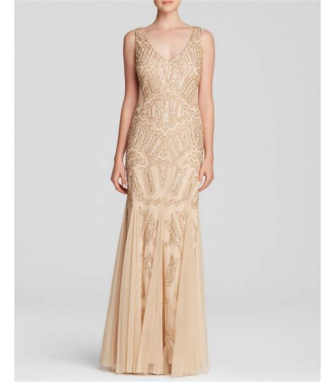 papell 091892290 light gold beaded gown