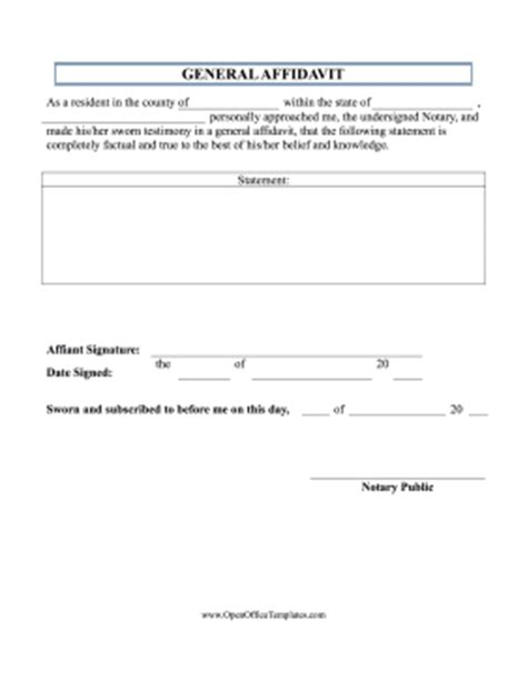 basic affidavit openoffice template