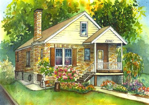 watercolor house painting of your home custom