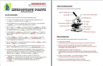 color the microscope parts color the parts of the microscope worksheet answers