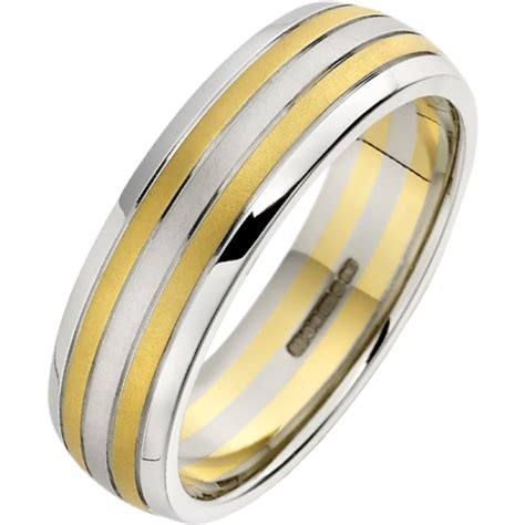 a stunning mixed metal mens wedding ring in 18ct white