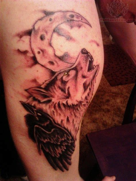wolf moon tattoo wolf howling