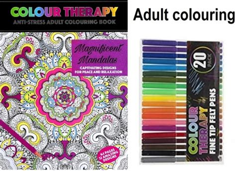 anti stress colouring book and pens crafts hobbies colour therapy anti stress