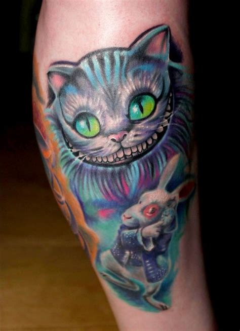 cheshire cat tattoo design in and on