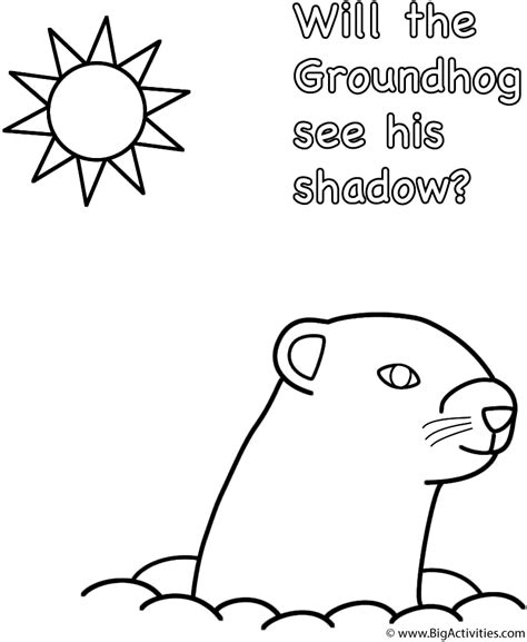groundhog day groundhog will the groundhog see his shadow coloring page