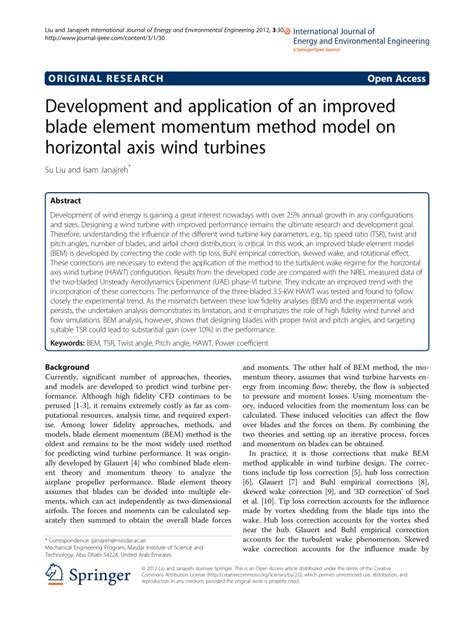 application design journal publication development and application of an improved blade element