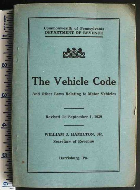 1939 pennsylvania motor vehicle code and laws 300 page