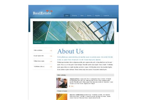 About Us Page Template Free commercial real estate web template pack from serif