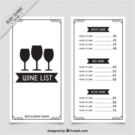 wine list template wine list template with three glasses vector free