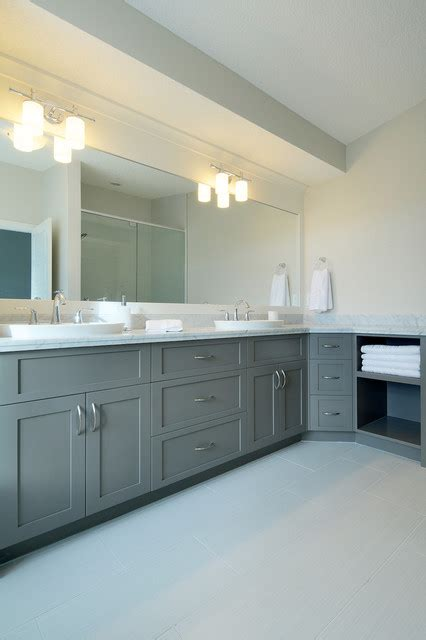 Grey And White L White Grey Bathroom Contemporary Bathroom Calgary