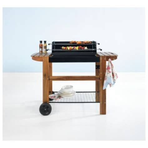 bench grill buy tesco deluxe twin grill charcoal bbq with wooden bench