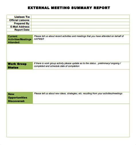 conference summary report template sle meeting summary template 7 documents in pdf