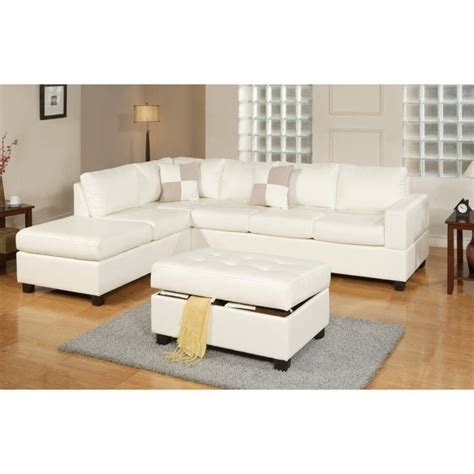 cream sectionals poundex bobkona soft touch 3 piece leather sectional sofa